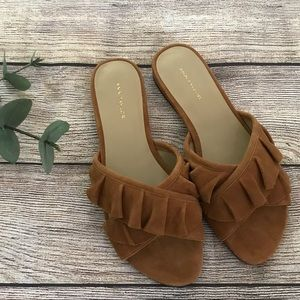 Ann Taylor Brown Open Ruffle Toe Flats